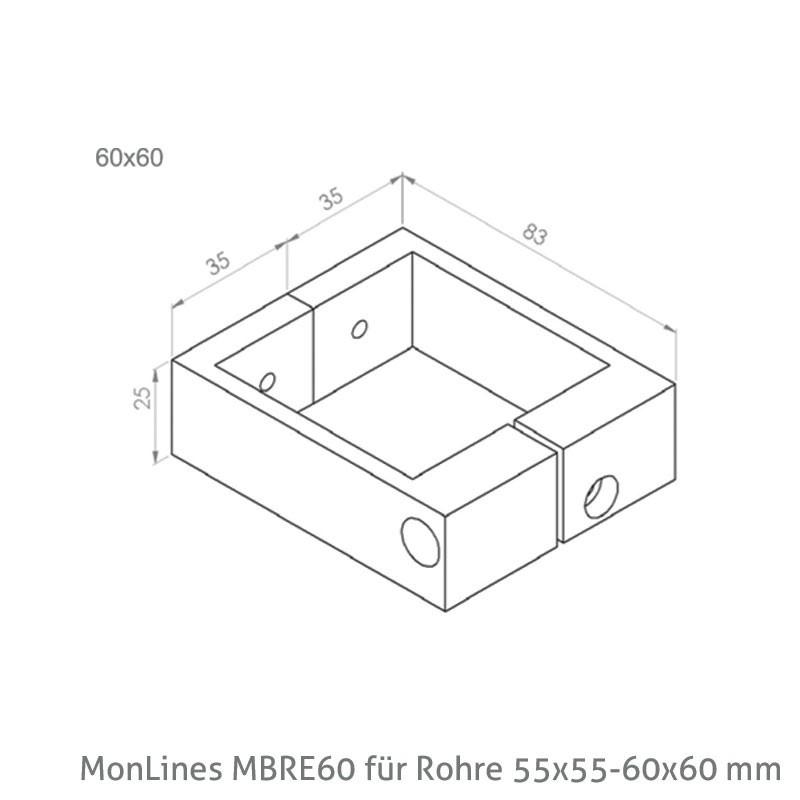 monlines 2 teiliges befestigungsrechteck f r rohre 40x40 45x45mm vogels. Black Bedroom Furniture Sets. Home Design Ideas