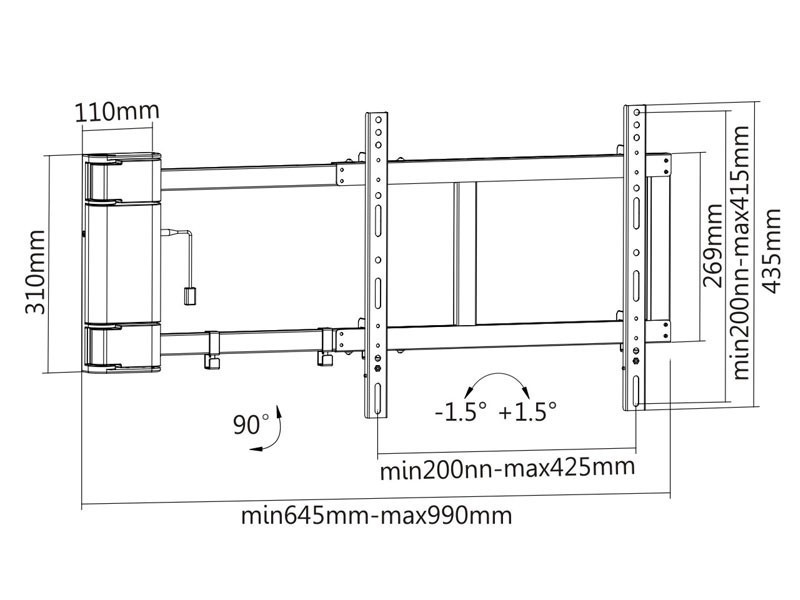 elektrische tv wandhalterung monlines myswing m04. Black Bedroom Furniture Sets. Home Design Ideas