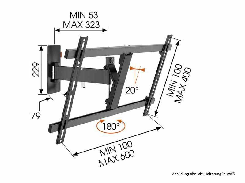 vogels wall 2325 schwenkbare tv wandhalterung wei. Black Bedroom Furniture Sets. Home Design Ideas