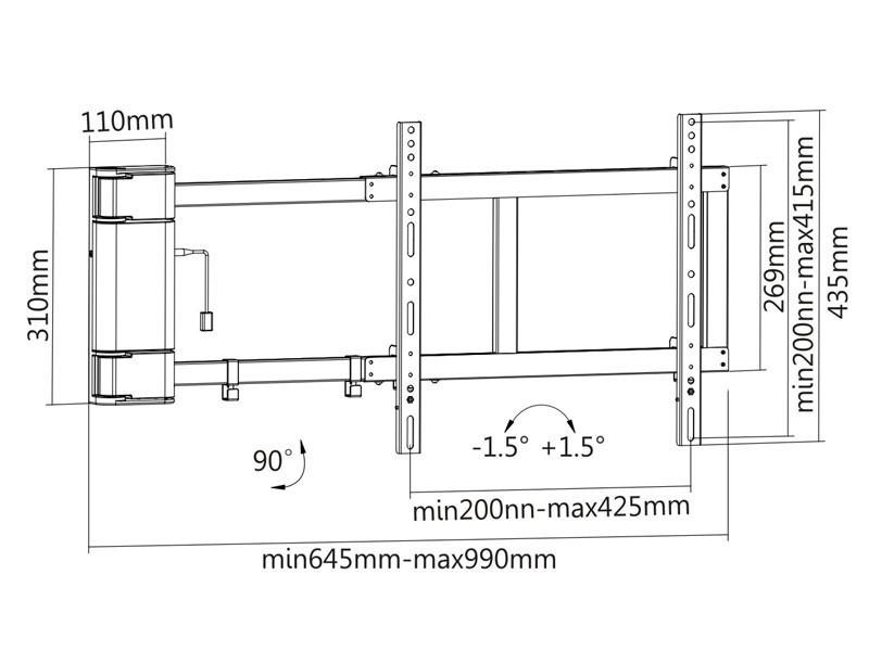 elektrische TV Wandhalterung, MonLines, mySwing M04