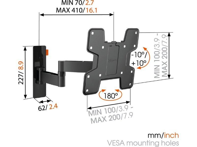 vogels wall 2145 schwenkbare tv wandhalterung schwarz. Black Bedroom Furniture Sets. Home Design Ideas